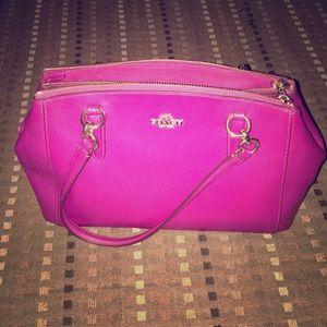 Coach Wine Christie Carryall Leather Satchel Bag